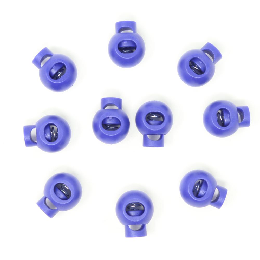 10x 1-Loch Kugel Kordelstopper - 20mm - XL - Blau-Lila
