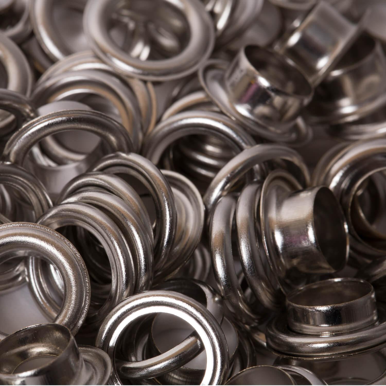 50 Ösen mit Scheibe in Silber - 8mm (N)