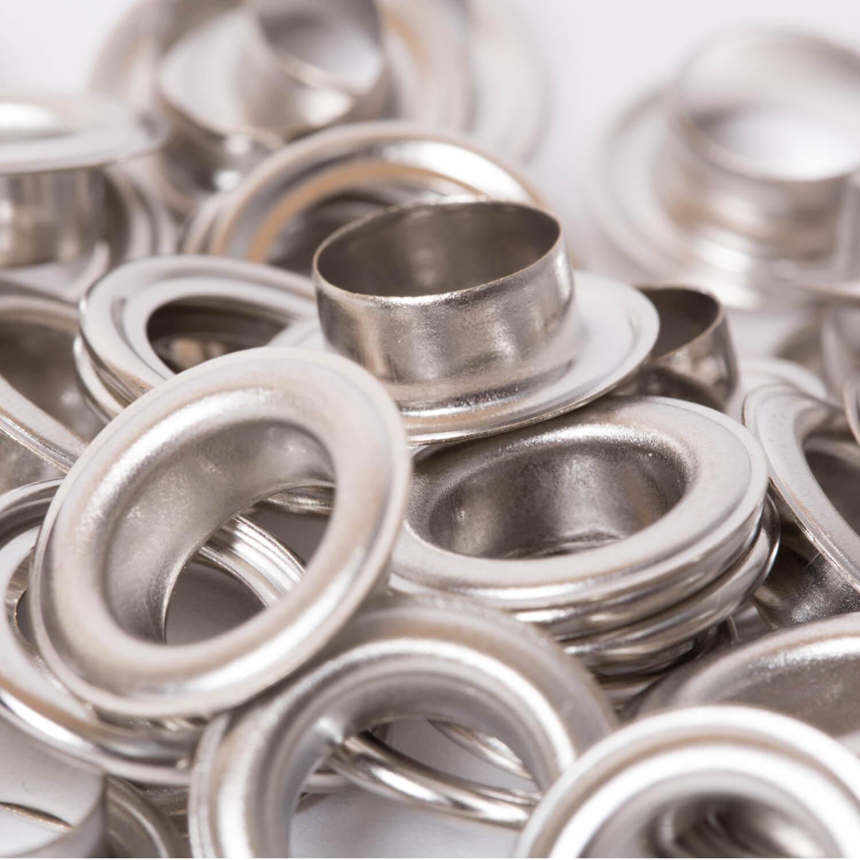 25 Ösen mit Scheiben in Silber - 11mm (N)