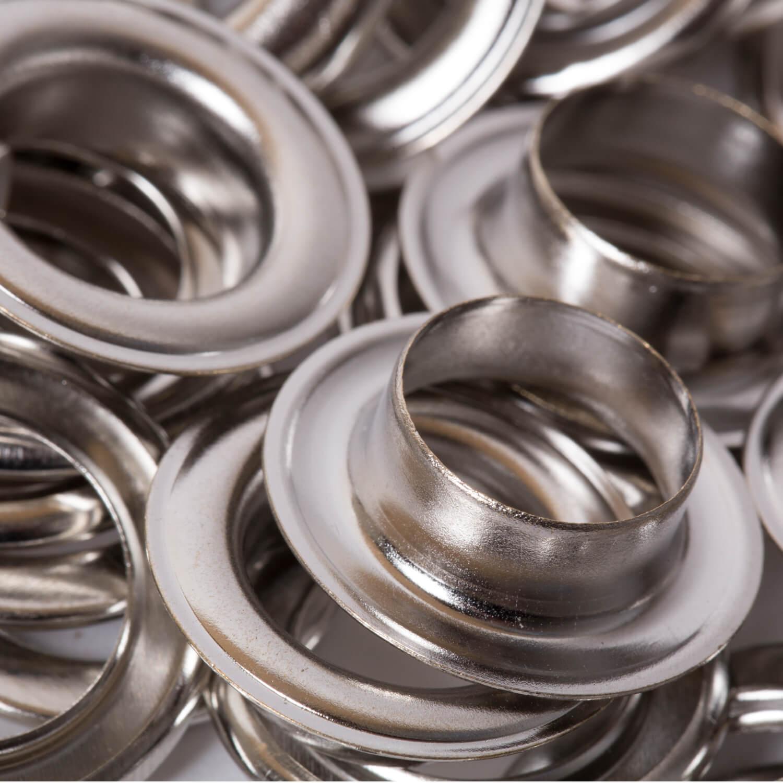 25 Ösen mit Scheiben in Silber - 14mm (N)