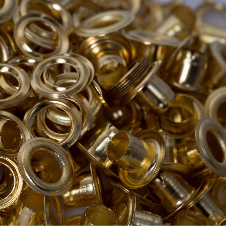 100 Ösen mit Scheibe in GOLD - 4mm