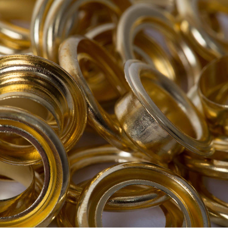 50 Ösen mit Scheibe in GOLD - 8mm