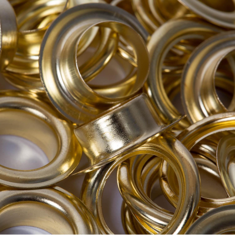 25 Ösen mit Scheibe in GOLD - 11mm