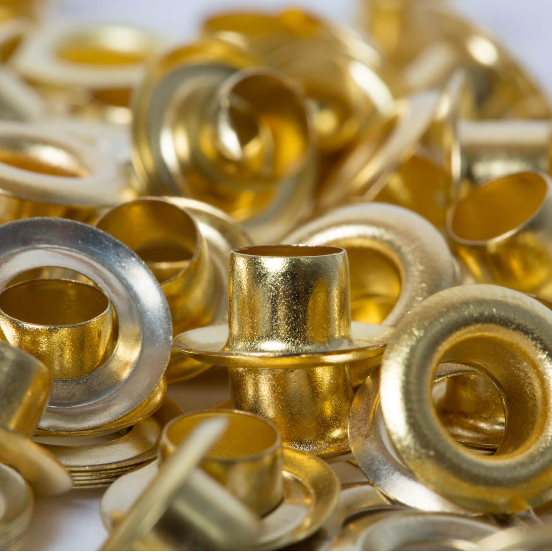 25 Ösen mit Scheibe in GOLD - 14mm