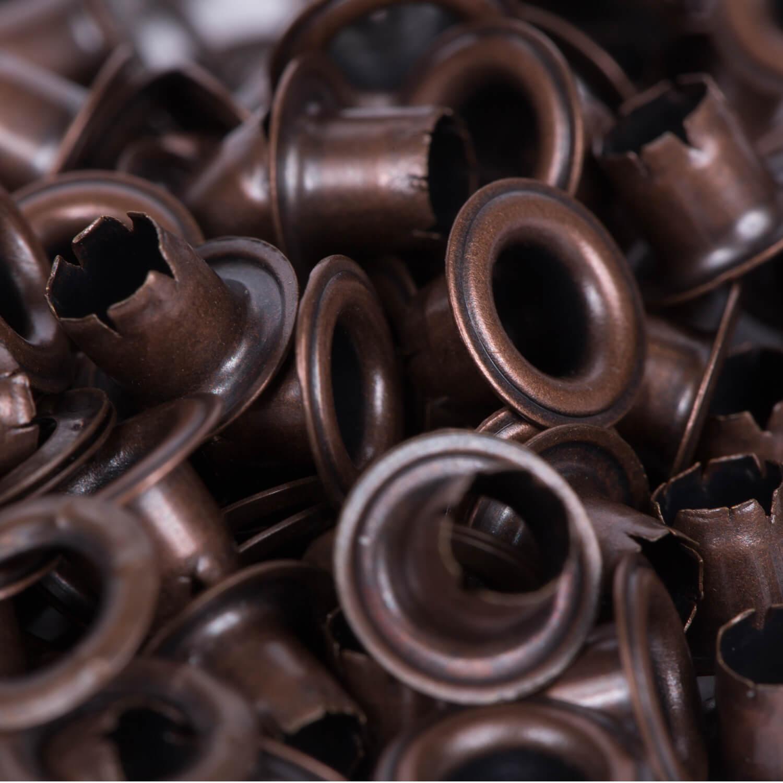 100 Ösen mit Scheiben in ALTKUPFER - 4mm