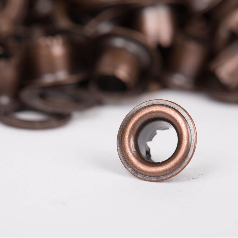 100 Ösen mit Scheiben in ALTKUPFER - 5mm