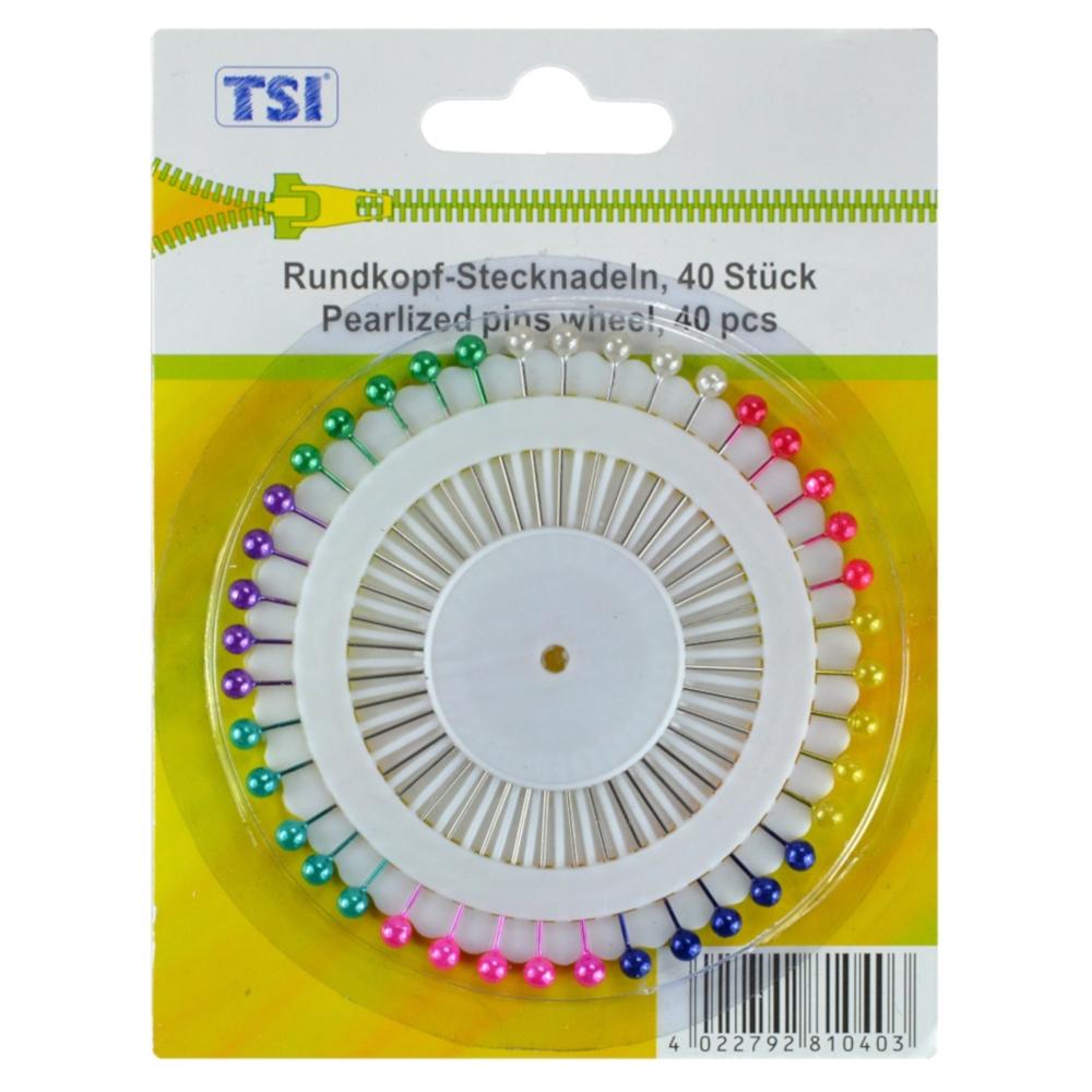 TSI   40 Perlokopfstecknadeln mit farbigen Köpfen