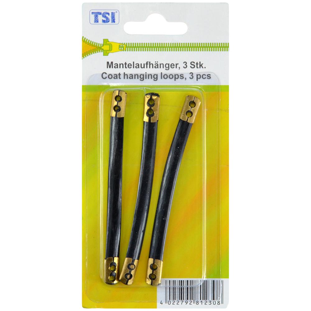 TSI | 3 Mantelaufhänger in Schwarz mit Metallösen