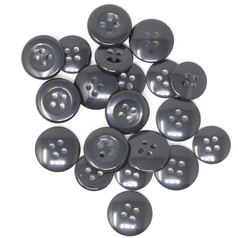 20 Hosenknöpfe aus Kunststoff in Schwarz mit Ø 14mm & Ø 17mm (4-Loch)
