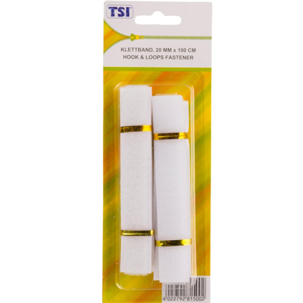 TSI | 1m Klettband mit 20mm Breite in der Farbe Weiß