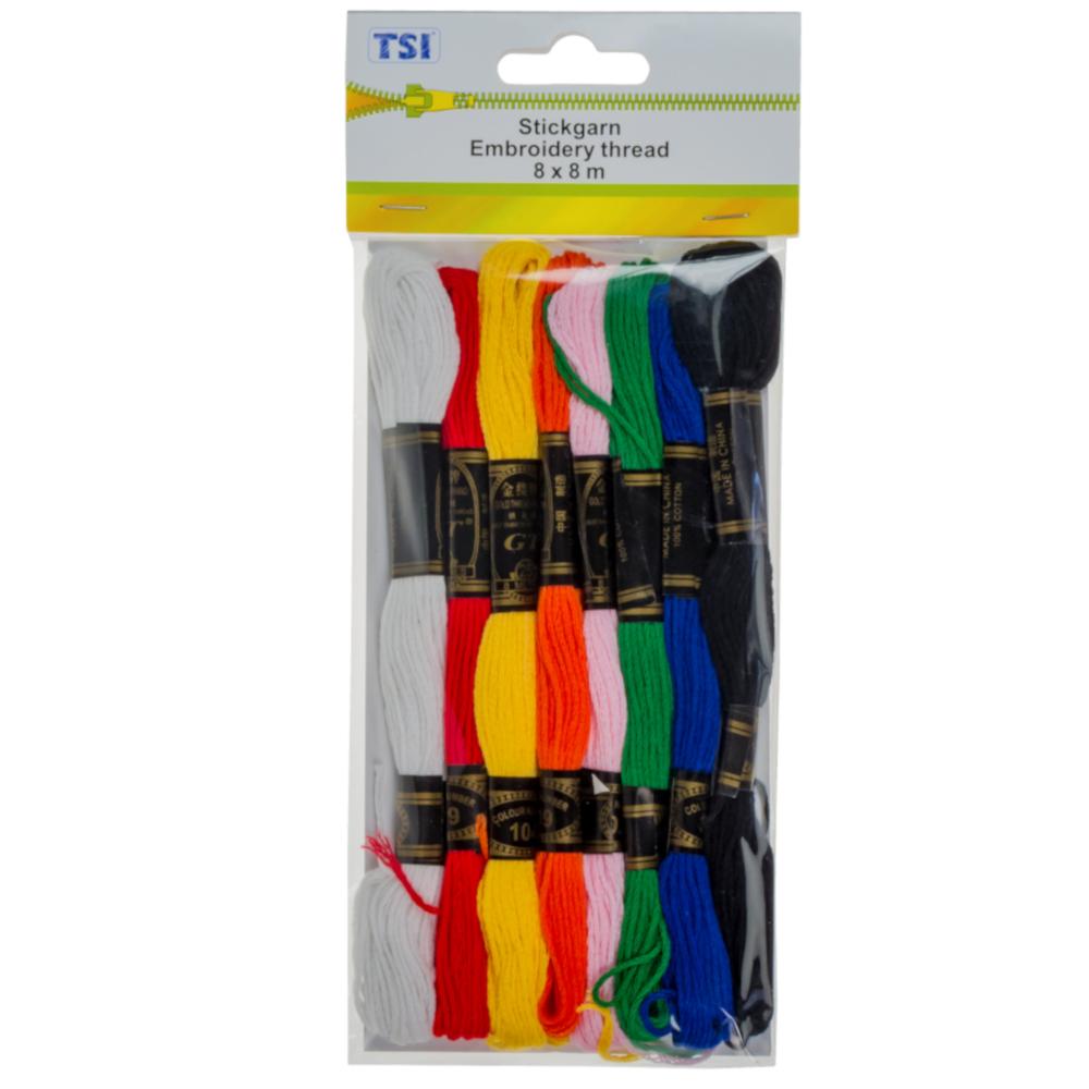 TSI | 8x Stickgarn mit je 8 Meter Docke in verschiedenen Farben