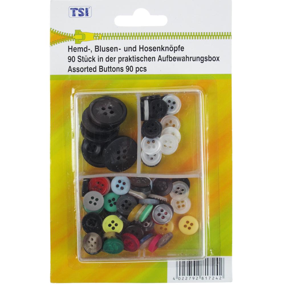 TSI | 90 Hemd-, Blusen-, und Hosenknöpfe in praktischer Aufbewahrungsbox