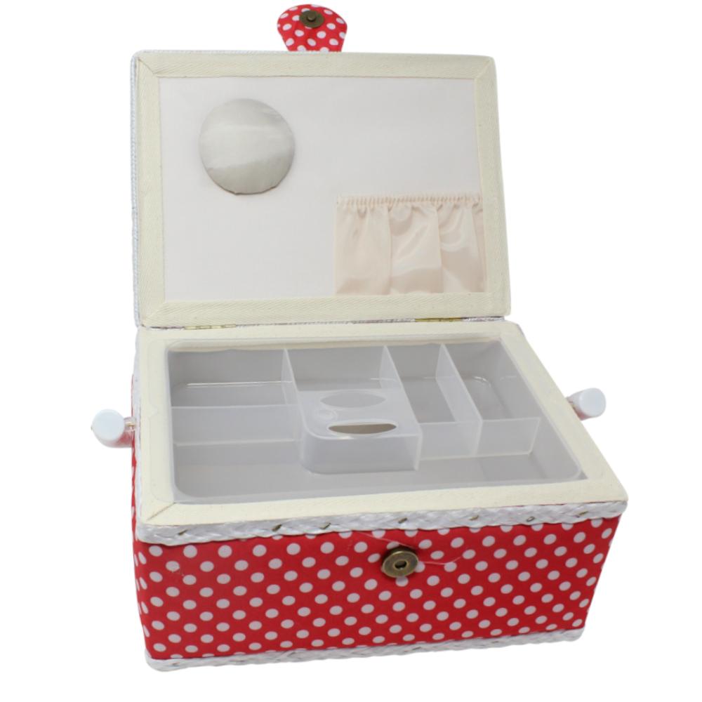 Nähutensilienbox 24 x 17,5 x 15 cm in Rot mit weißen Punkten