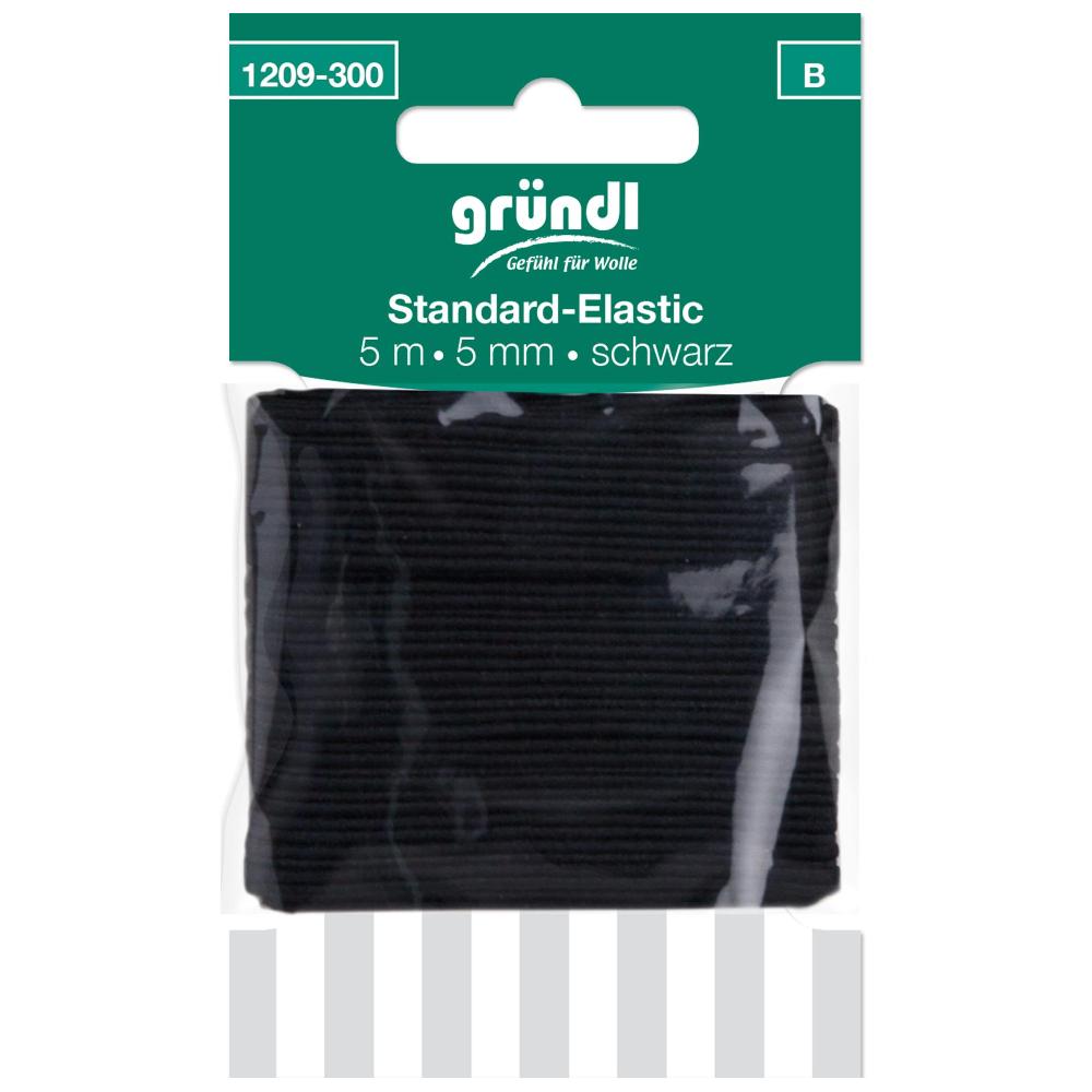 GRÜNDL | Standard Elastik mit 5mm Breite und 5m Länge in Schwarz