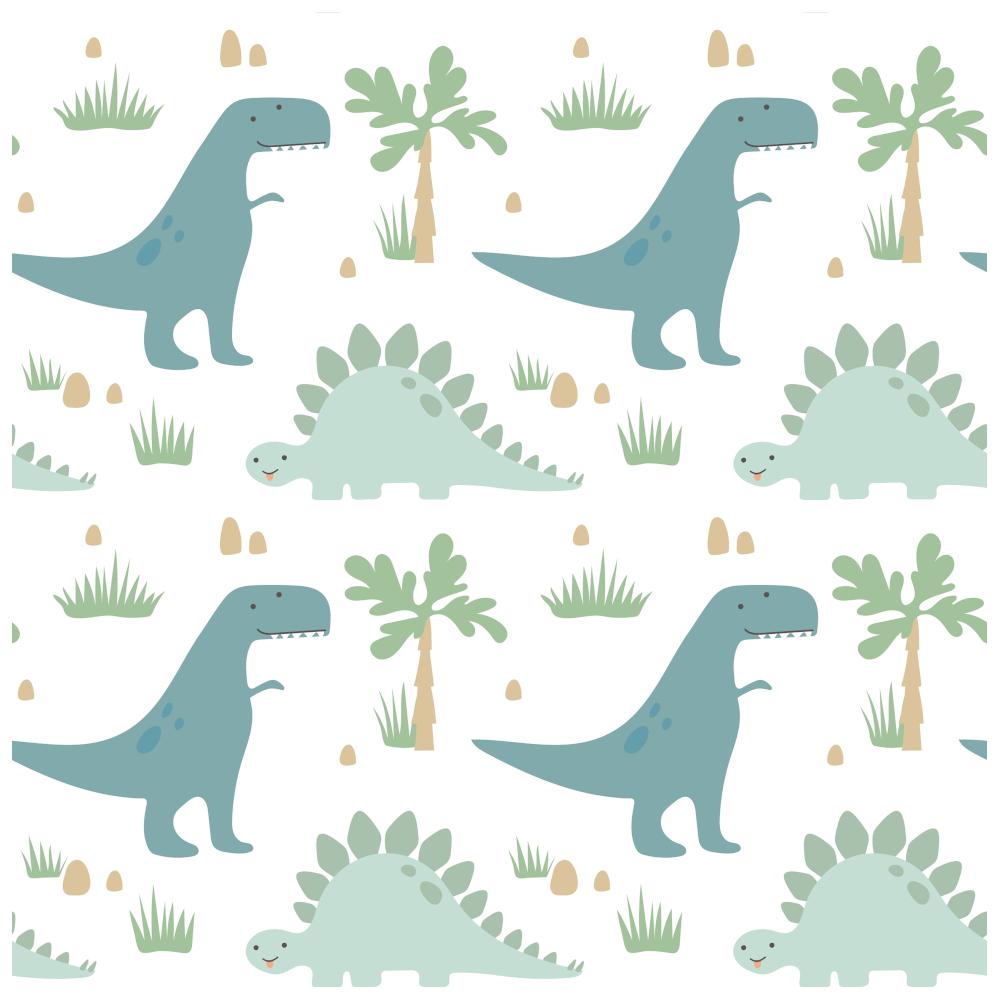 GR | Stoffknäuel Jersey print 80x100 cm in Weiß mit Dinos (4609-57)