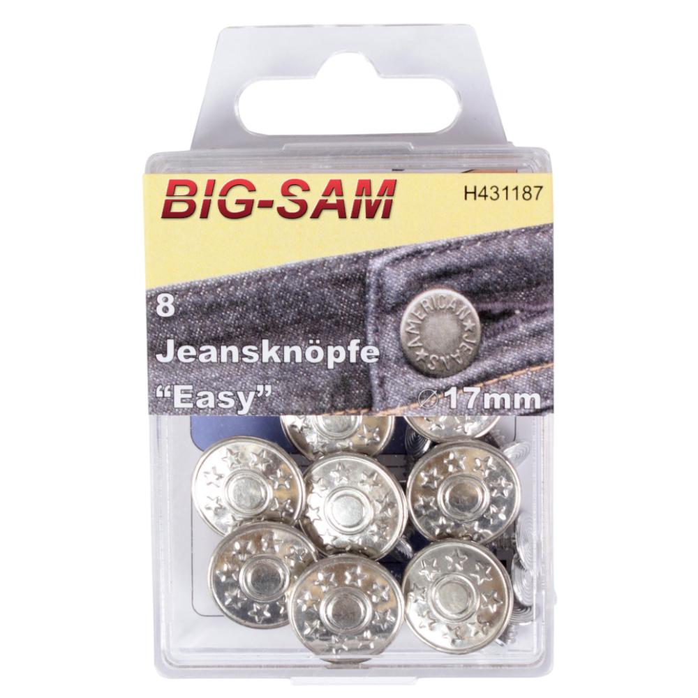 "8 Jeansknöpfe ""Easy"" 17mm Durchmesser in Silber"