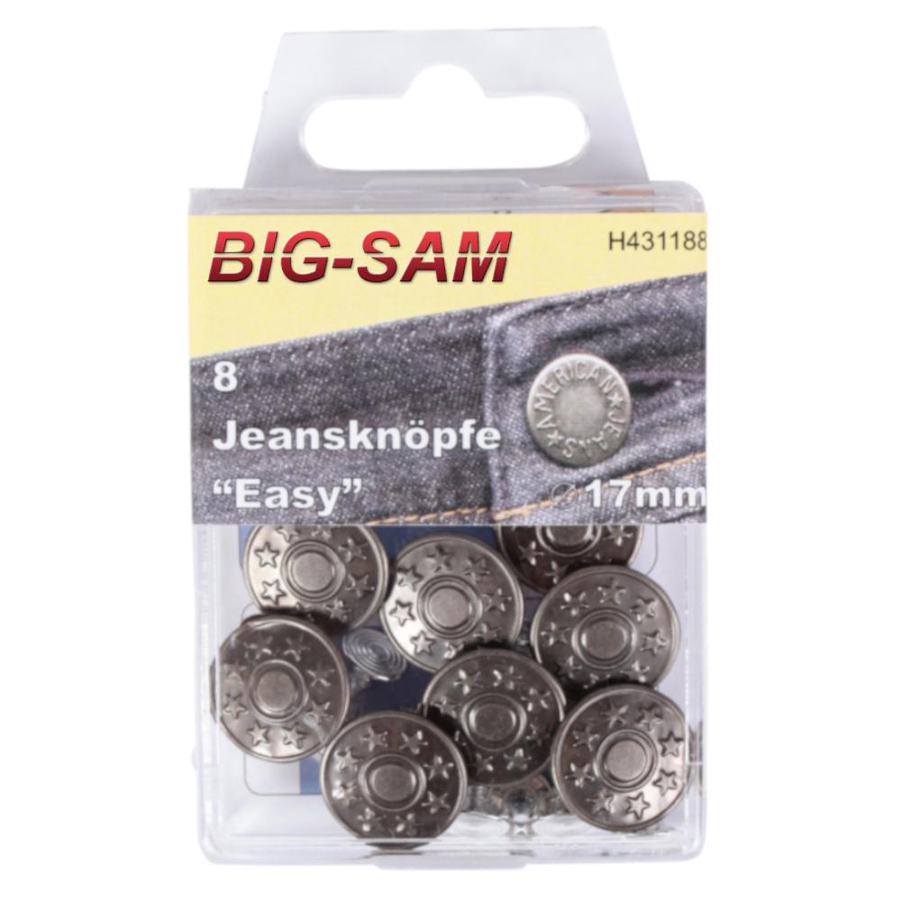 """8 Jeansknöpfe """"Easy"""" 17mm Durchmesser in Altsilber"""
