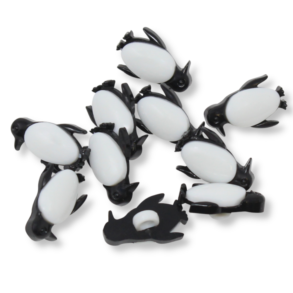 """10 Kinderknöpfe - Pinguine - 18"""" / 11,4 mm -"""