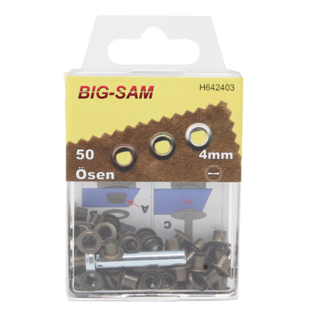 50 Ösen mit Scheiben - 4mm - inkl. Anleitung und Werkzeug - Altmessing