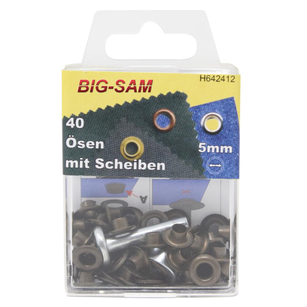 40 Ösen mit Scheiben - 5mm - inkl. Anleitung und Werkzeug - Altmessing
