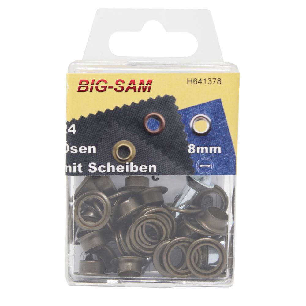 24 Ösen mit Scheiben - 8mm - inkl. Anleitung und Werkzeug - Altmessing