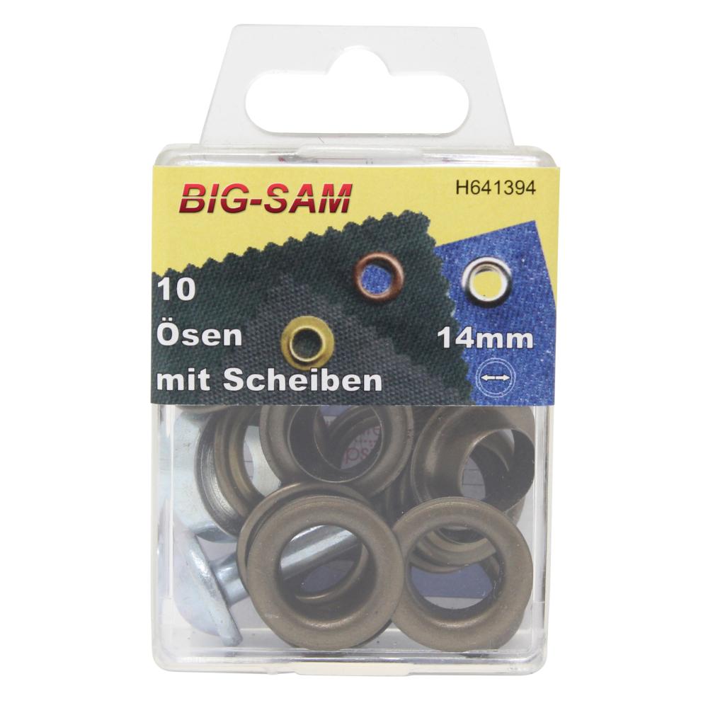 10 Ösen mit Scheiben - 14mm - inkl. Anleitung und Werkzeug - Altmessing