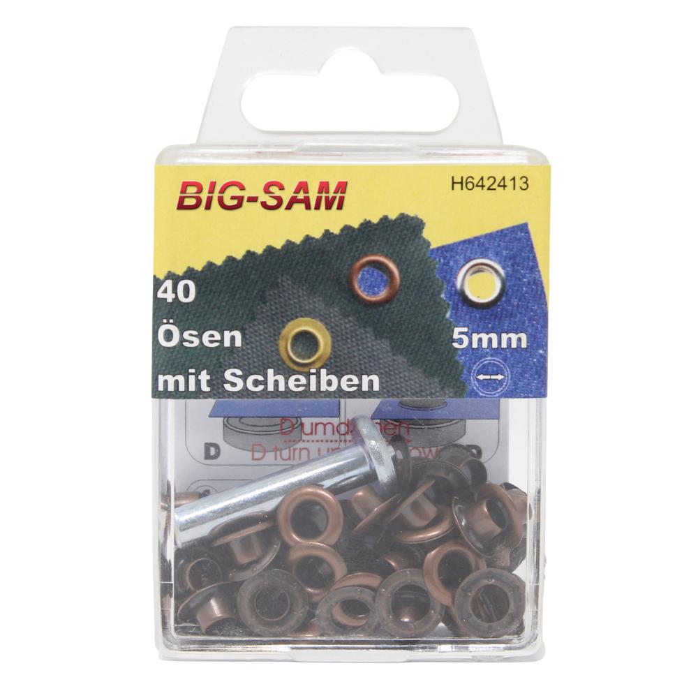 40 Ösen mit Scheiben - 5mm - inkl. Anleitung und Werkzeug - Altkupfer