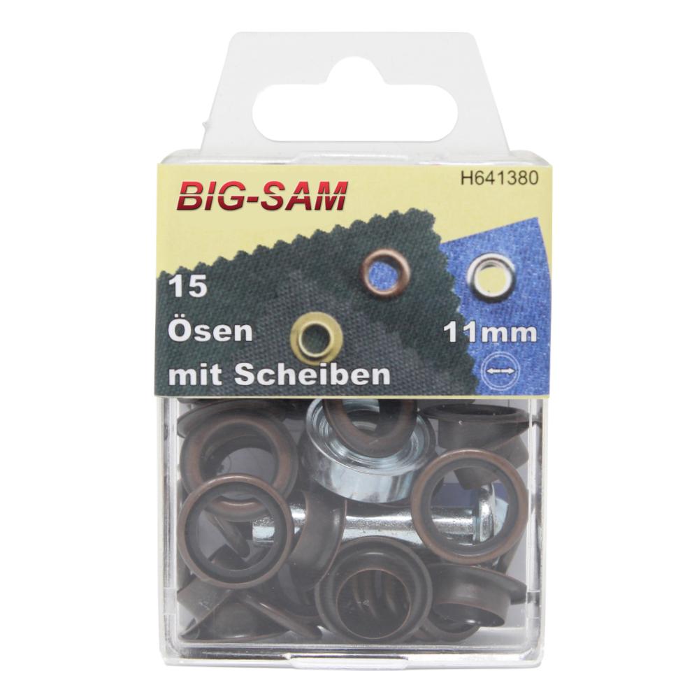 15 Ösen mit Scheiben - 11mm - inkl. Anleitung und Werkzeug - Altkupfer