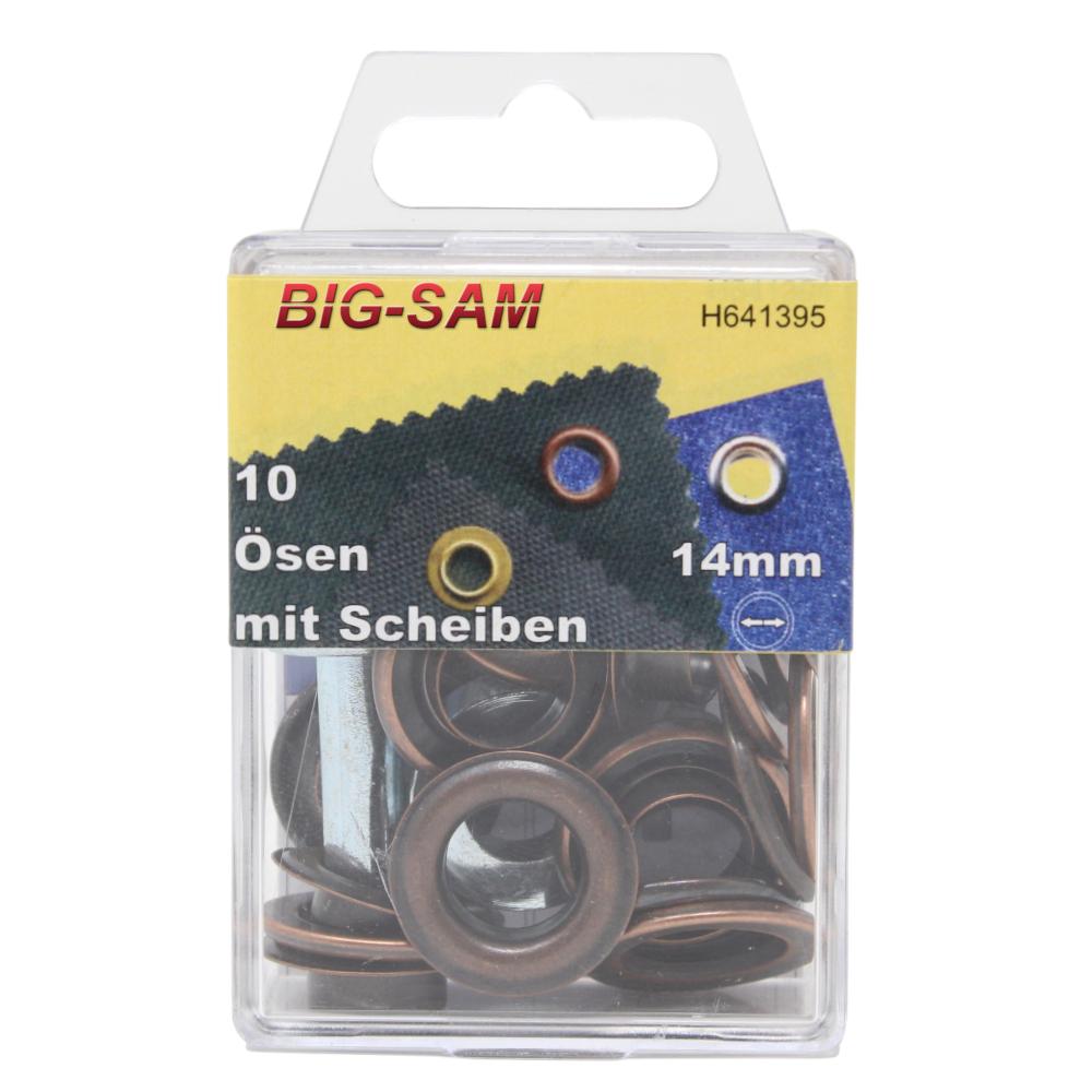 10 Ösen mit Scheiben - 14mm - inkl. Anleitung und Werkzeug - Altkupfer
