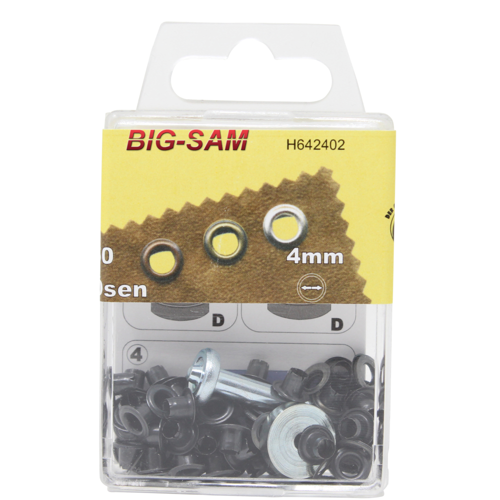50 Ösen mit Scheiben - 4mm - inkl. Anleitung und Werkzeug - Brüniert