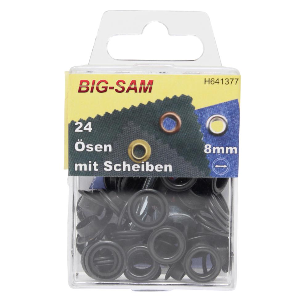 24 Ösen mit Scheiben - 8mm - inkl. Anleitung und Werkzeug - Brüniert