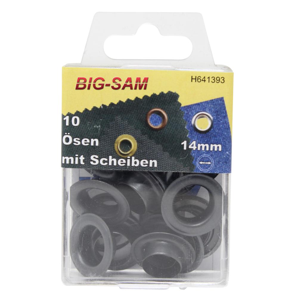 10 Ösen mit Scheiben - 14mm - inkl. Anleitung und Werkzeug - Brüniert
