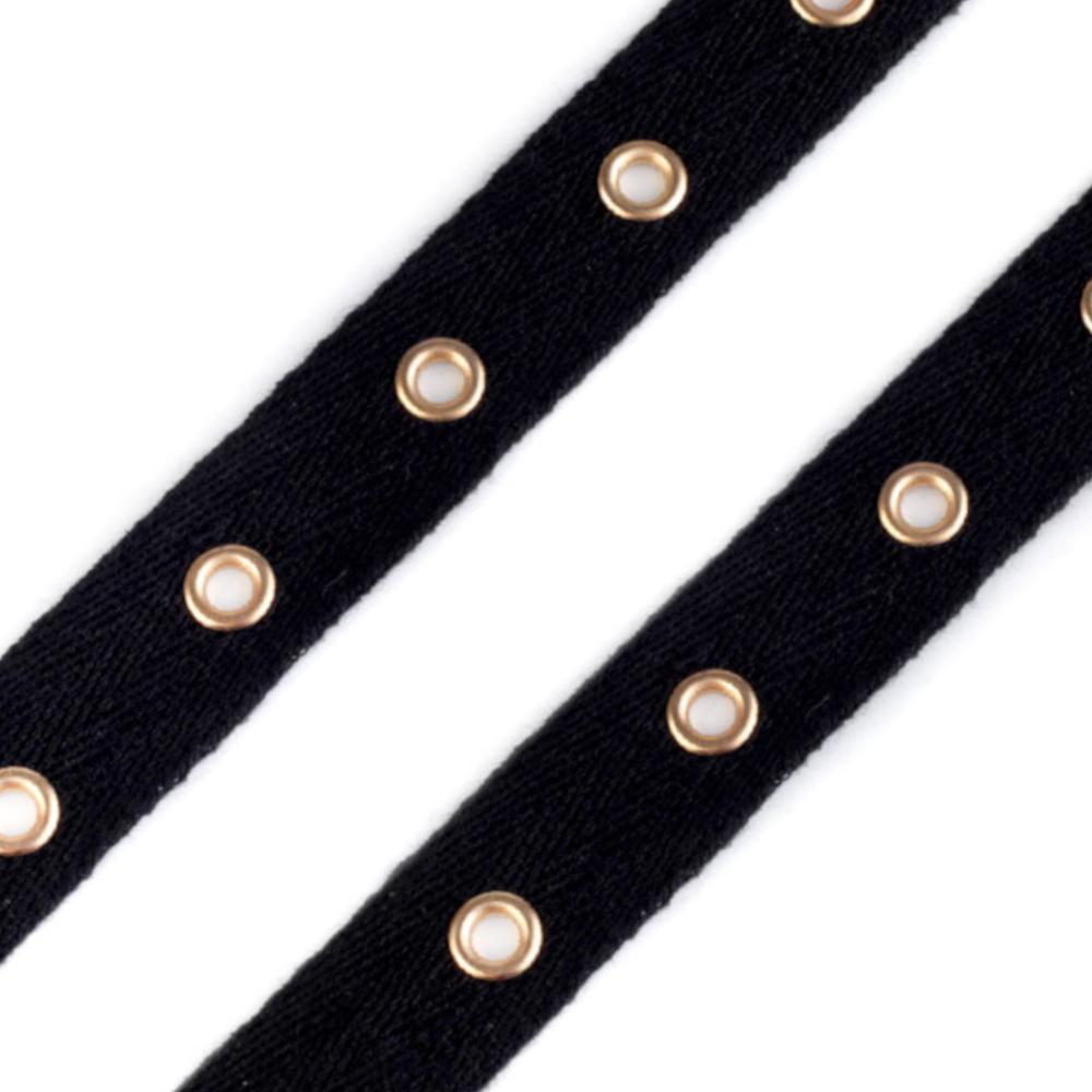 Schwarzes Ösenband mit 20mm Breite und 4mm Ösenlöcher (1-Platine)