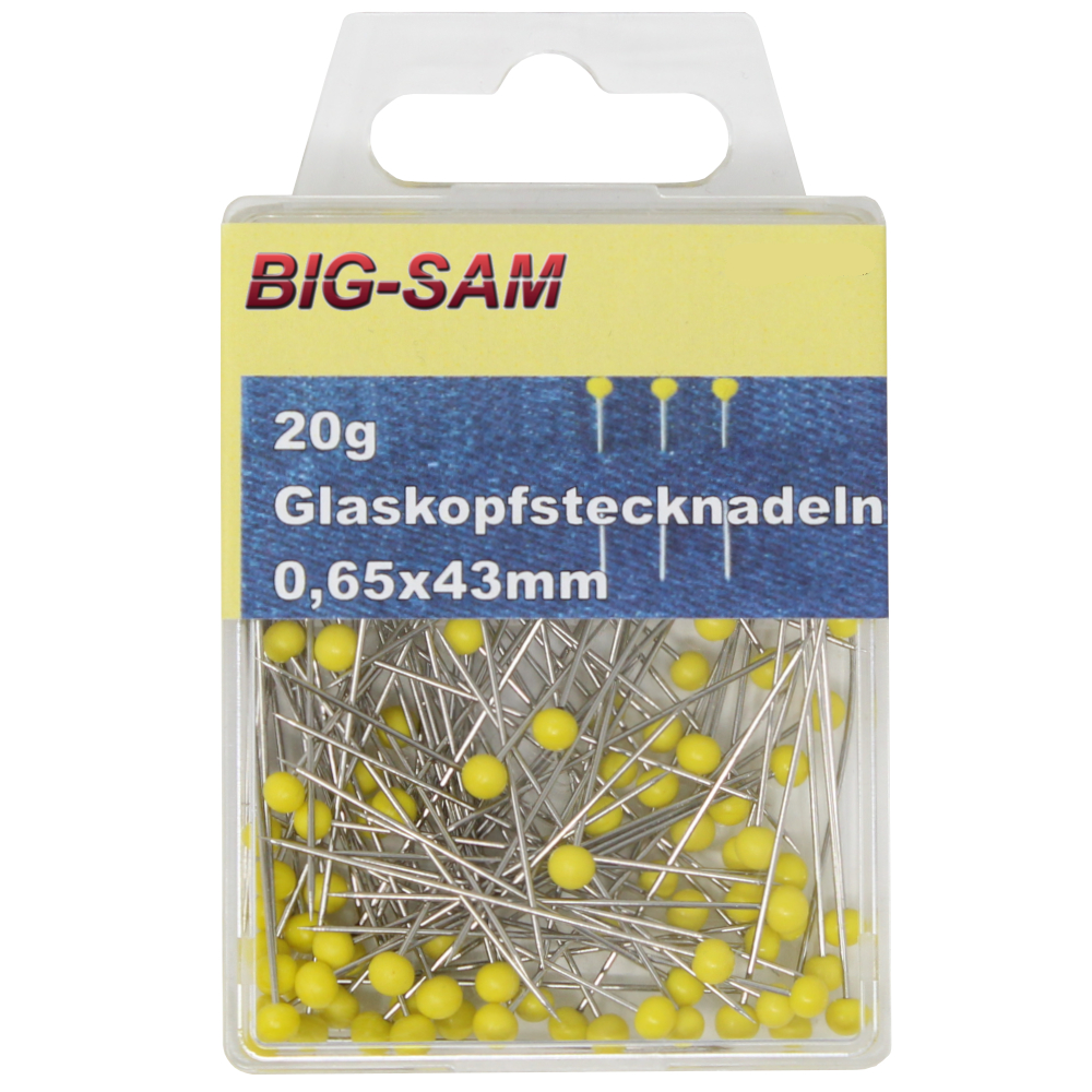 20g Glaskopfstecknadeln 0,65 x 43mm mit gelben Köpfen