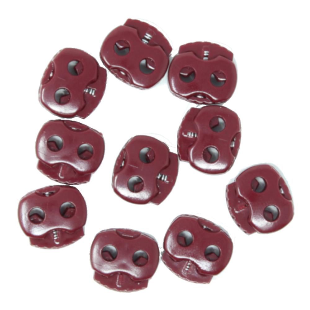 10 Stück - 2-Loch Kordelstopper - 15x15 - Bordeaux Rot