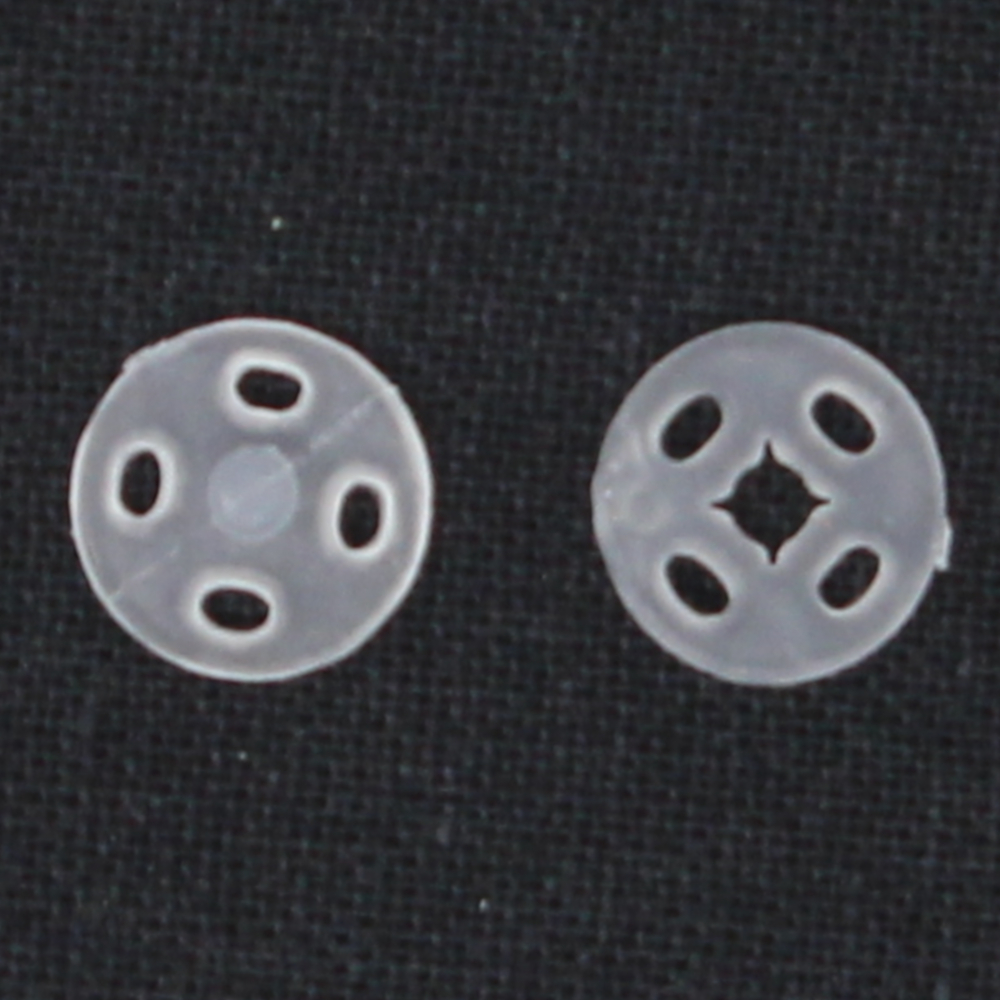 12 Druckknöpfe 10mm aus Kunststoff in Weiß-Transparent