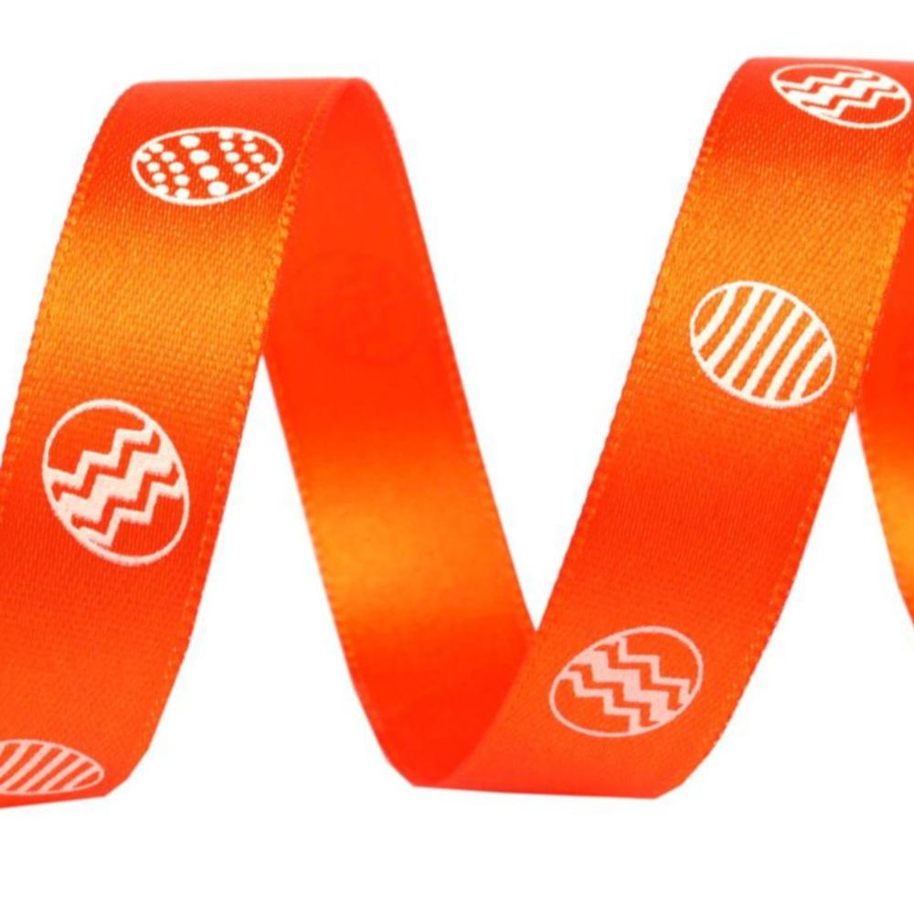 1m Satinband Ostereier Motiv mit 15mm Breite in Orange