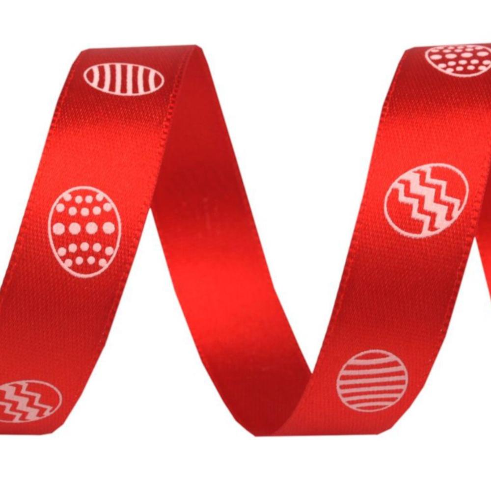 1m Satinband Ostereier Motiv mit 15mm Breite in Rot
