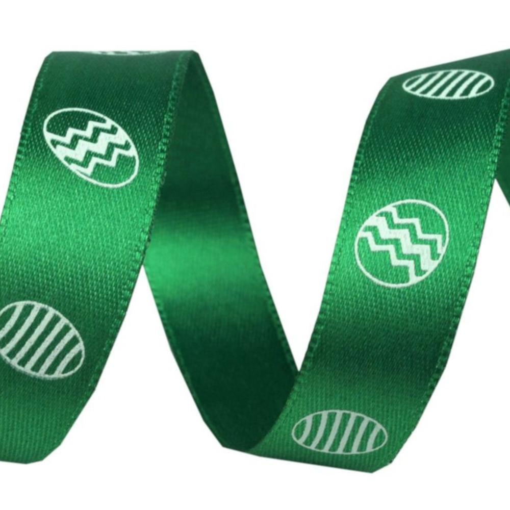 1m Satinband Ostereier Motiv mit 15mm Breite in Grün