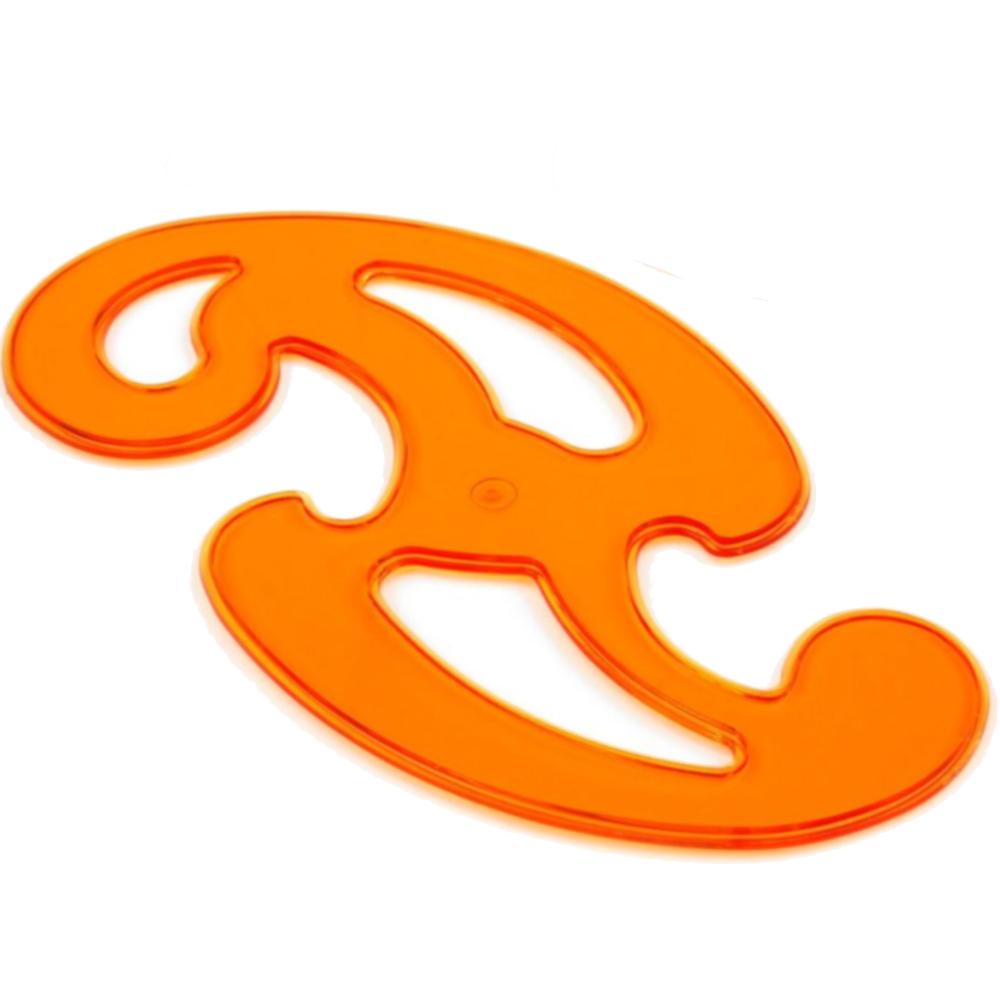 3er Set Burmester Kurvenschablonen aus Kunststoff  Orange-Transparent