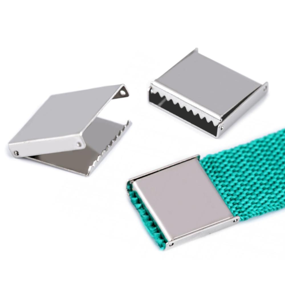 5 Endstücke für 20 mm breite Gurtbänder in Silberfarben