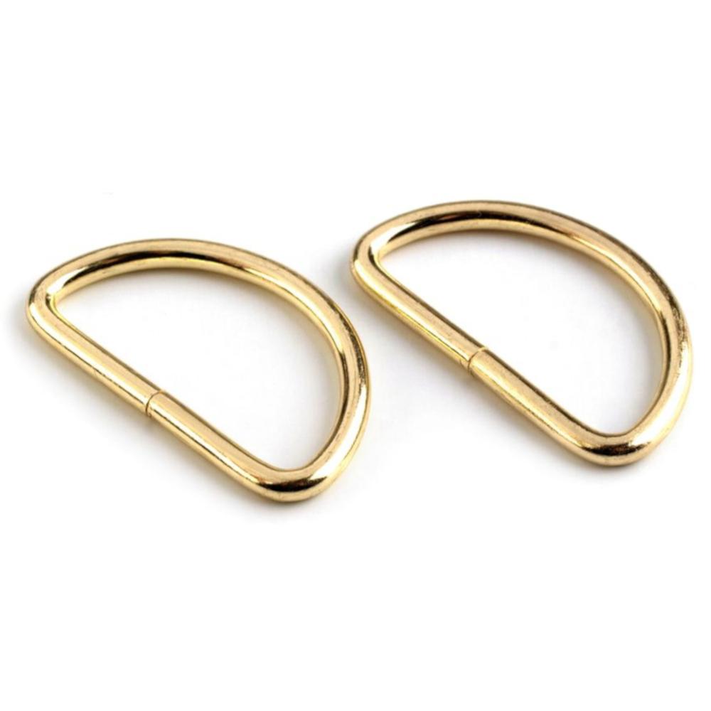 10 D-Ringe für Gurtbänder bis 32mm Breite in Goldfarben (hell)