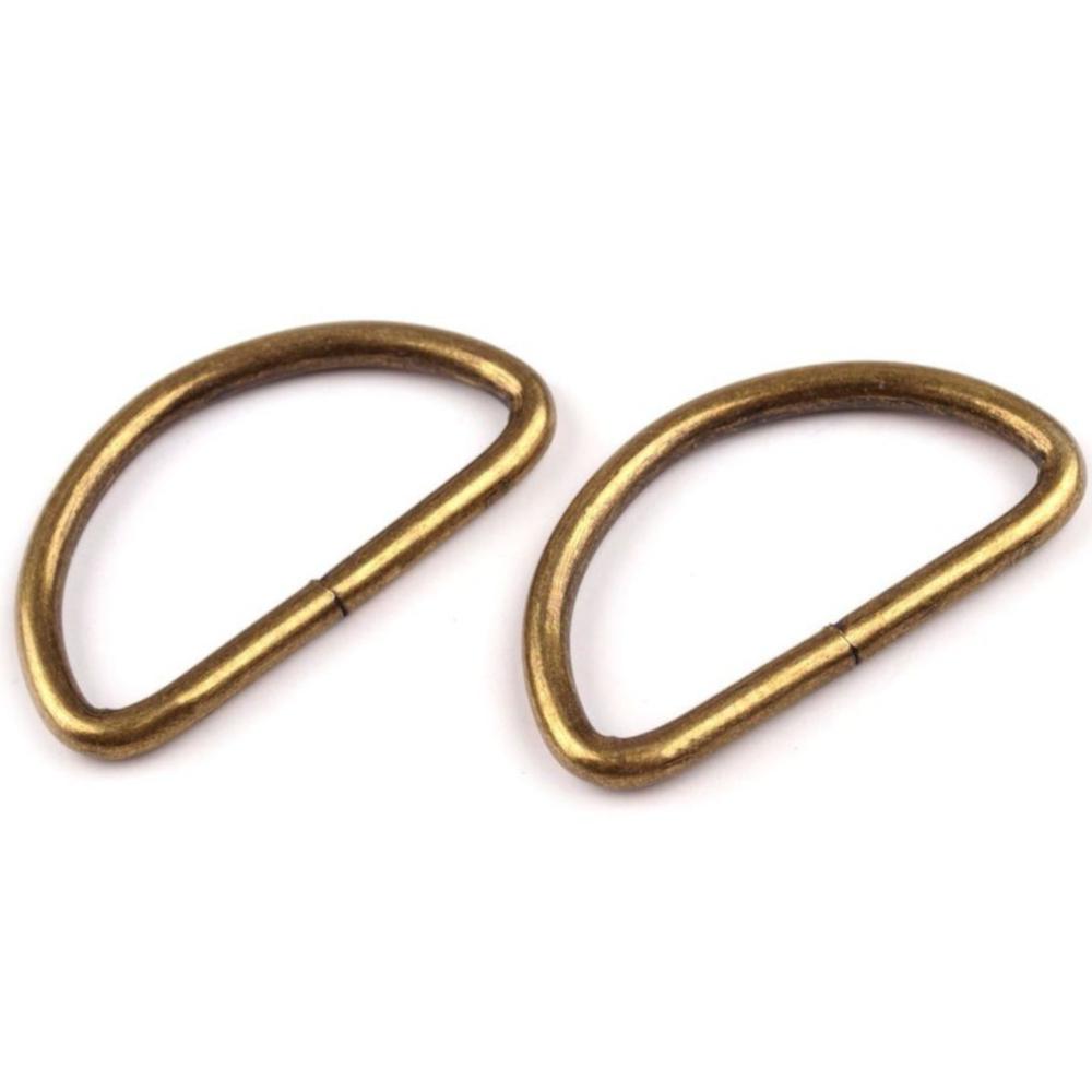 10 D-Ringe für Gurtbänder bis 32mm Breite in Altmessing
