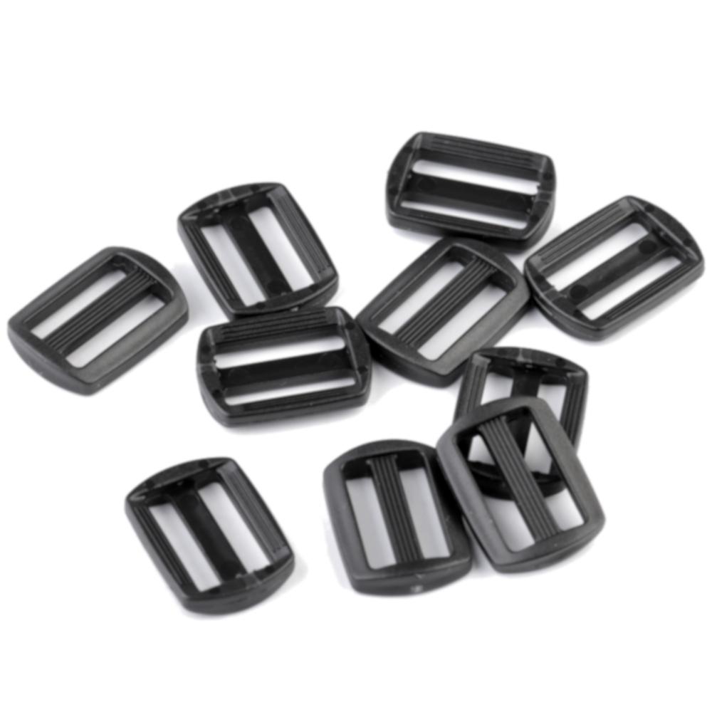 10 Gurtversteller aus Kunststoff 15 mm in Schwarz