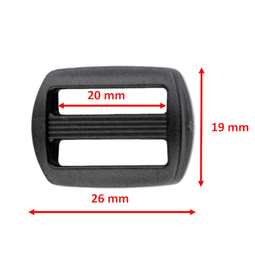 10 Gurtversteller aus Kunststoff 20 mm in Schwarz