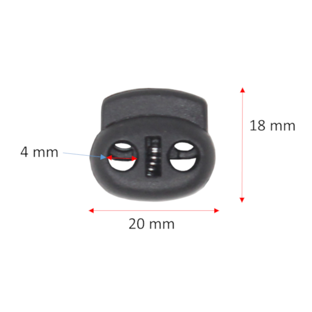 10x 2-Loch Kordelstopper aus Kunststoff in Schwarz mit 4mm Durchzug