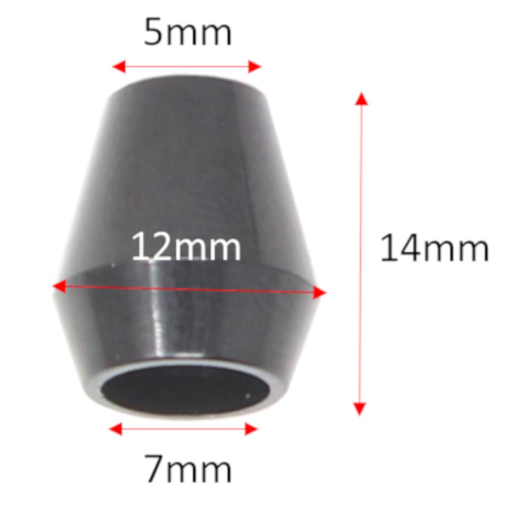 10 Kordelstopper Endstücke aus Kunststoff in Schwarz (konisch)
