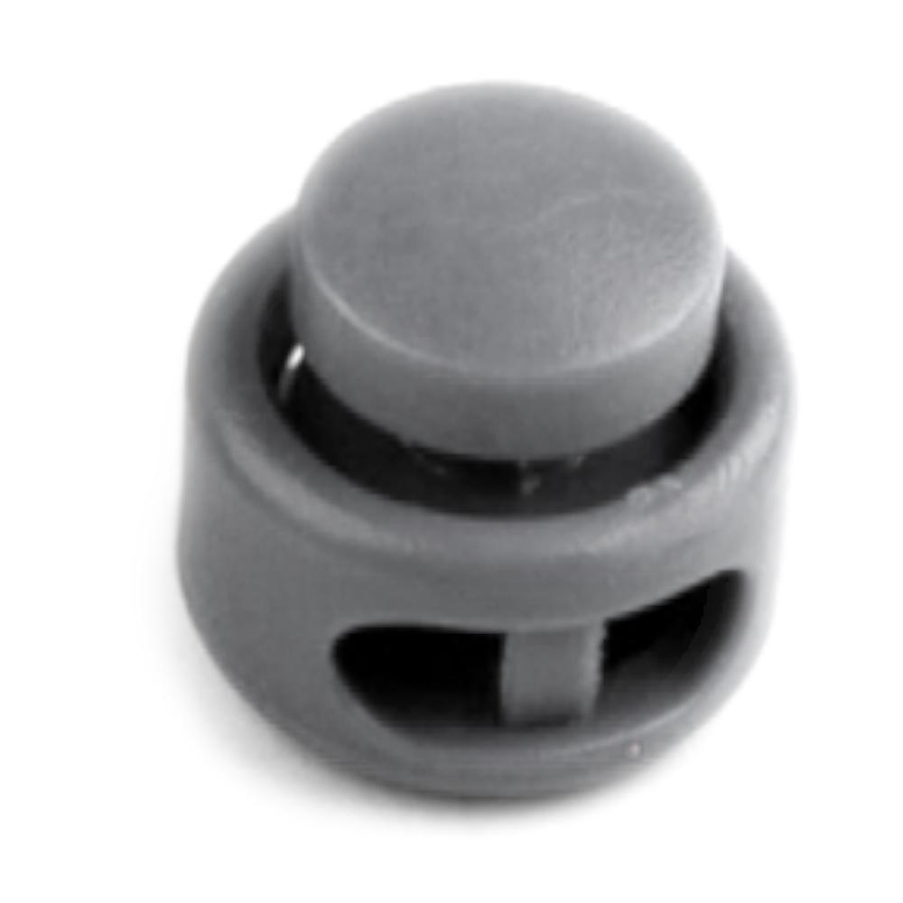5 Kordelstopper mit 2 Löcher 13 x 15mm - RUND - Grau (4)