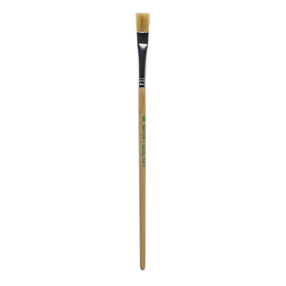 Borstenpinsel flach - langer Stiel - Größe 8