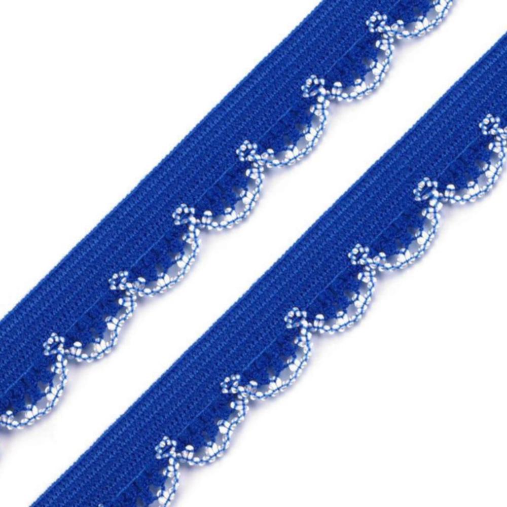 2 Meter Wäschegummi mit Verzierungen mit 14mm Breite - Blau